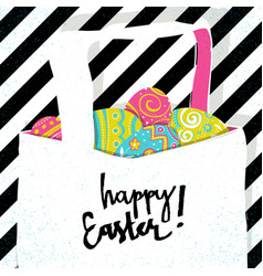 retro greeting card basket with easter eggs vector image