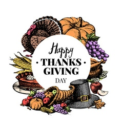 Thanksgiving Day background Vintage typographic vector image
