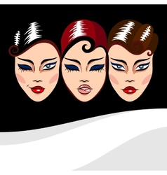 background with woman faces vector image vector image