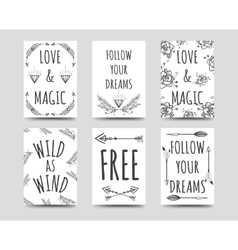 Boho style cards collection vector image vector image
