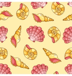 Cockleshells seamless pattern yellow vector image vector image