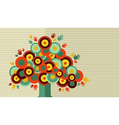 Colorful vintage hand tree design vector image vector image