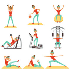 fitness woman exercising in the gym with sports vector image vector image
