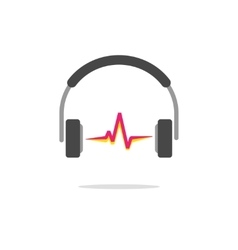 Music logo concept isolated headphones red vector image vector image