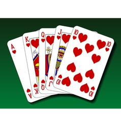 Poker hand - Royal flush heart vector image vector image