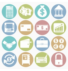 white icons finance vector image vector image