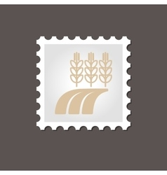Ears of Wheat Barley Rye on Field stamp Outline vector image