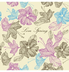 Retro Spring Love Flowers Background vector image vector image