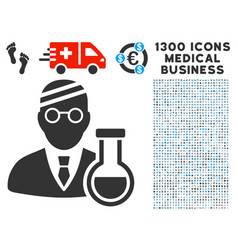 sick chemist icon with 1300 medical business icons vector image