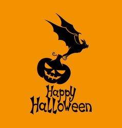black bat with pumpkin vector image vector image
