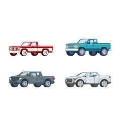 Colorful pickup truck models collection vector