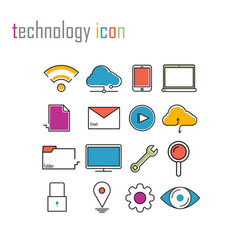 line icons technology internet iconsmodern vector image