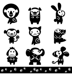 Zoo collection of Animals Silhouette vector image vector image