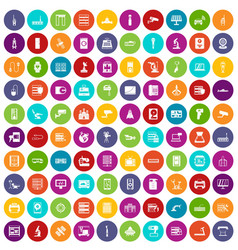 100 hardware icons set color vector