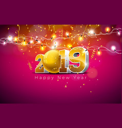 2019 happy new year with 3d gold vector