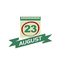 23 august calendar with ribbon vector