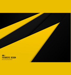 abstract black and yellow tech overlap design vector image