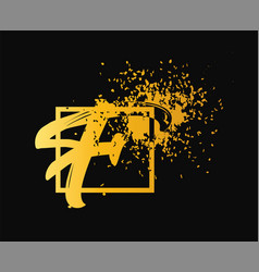 Abstract letter f logo design gold beauty vector