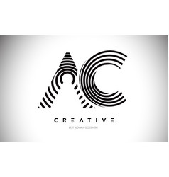 Ac lines warp logo design letter icon made vector