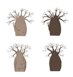 african iconic tree baobab set adansonia gregorii vector image