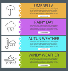 Autumn weather web banner templates set vector