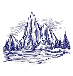 Ball pen river and mountain landscape vector