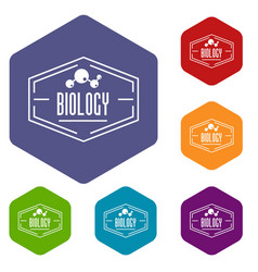 Biology icons hexahedron vector