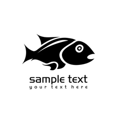 black isolated fish vector image