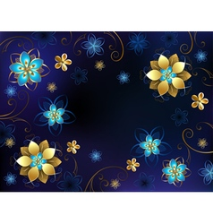Blue background with flowers vector