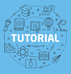 Blue line flat circle tutorial vector