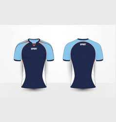 Blue white and orange sport football kits t-shirt vector