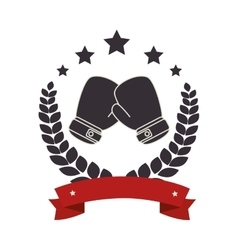 Boxing gloves emblem icon vector