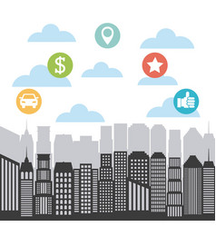Buildings infographic city presentation vector
