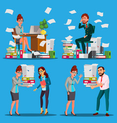 Business people doing paperwork office vector