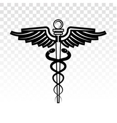 Caduceus medical symbol with two snake vector