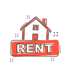 Cartoon rent house icon in comic style home vector