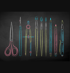 chalk drawn collection drawing tools vector image