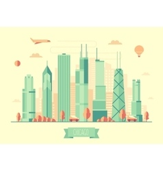 Chicago skyline flat design vector