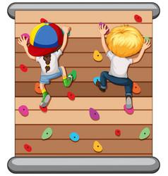 children climbing the wall vector image