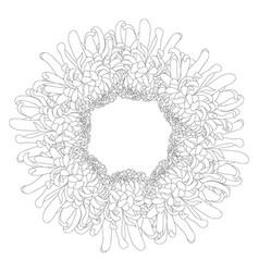 Chrysanthemum outline flower wreath vector