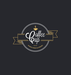Coffee cup logo coffee stamp on black background vector