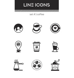 Coffee - set of line design style icons vector