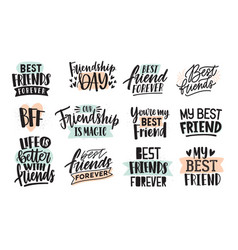 collection creative thank you lettering or vector image