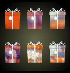 Colorful mesh wrapping paper gifts with ribbons vector