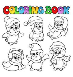 coloring book cute penguins 3 vector image