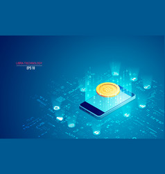 concept libra coin technology mobile phone vector image