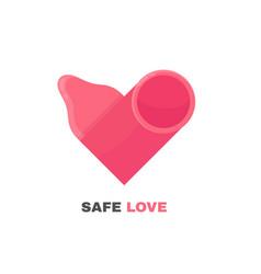 Condom logo design heart vector