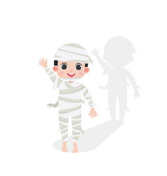 cute kid halloween character in a mummy costume vector image