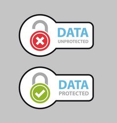 Data protected unprotected safety icon symbol vector