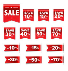 Discount red labels set vector